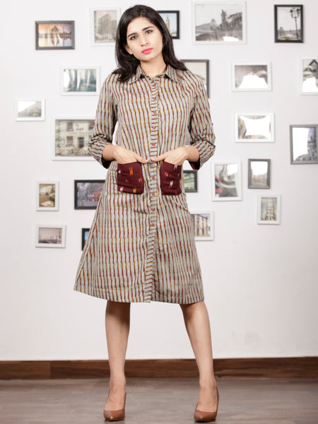 Grey Maroon Black Mustard Ikat Handwoven Shirt Dress With Front Pockets - D239F1250