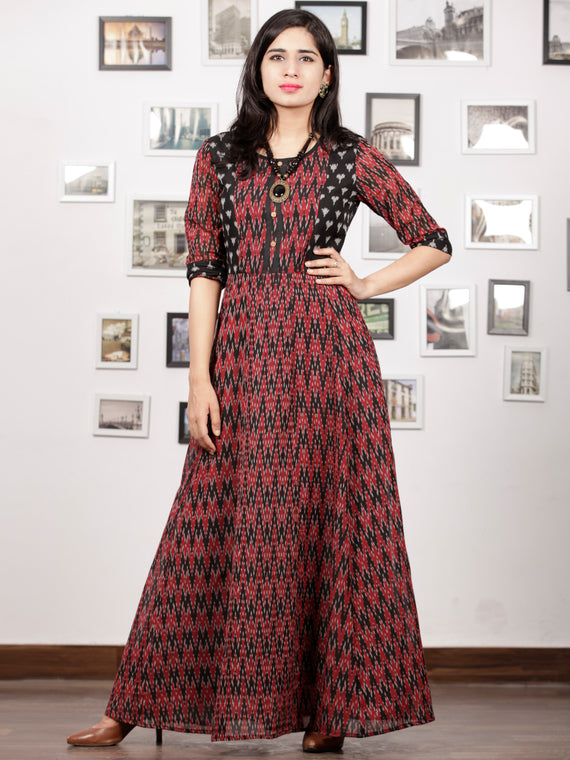 Maroon Black Grey Handloom Mercerised Ikat Long Cotton Dress With Princess Cut - D279F1415