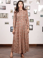 CLASSY VIBES - Hand Block Printed Cotton Long Dress With Pin Tuck - D328F896