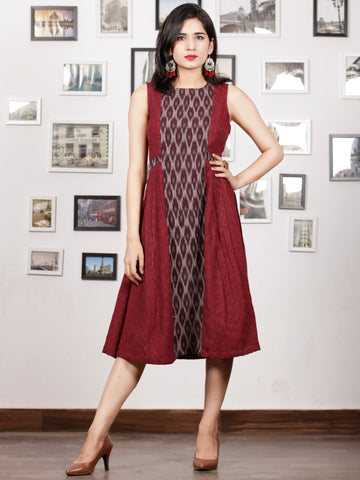 Maroon Ivory Grey Handwoven Ikat Knife Pleated Sleeveless Dress -  D276F1463