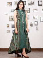 Teal Green White Black Maroon Handwoven Asymmetric Ikat Dress With Front Open-  D280F1263