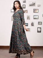 Forest Charm - Hand Block Printed Cotton Long Dress With Back Knots - D162F1332