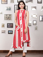 Red OffWhite Handloom Double Ikat Kurta With Embroidered Pocket & Back Zip - K92F759