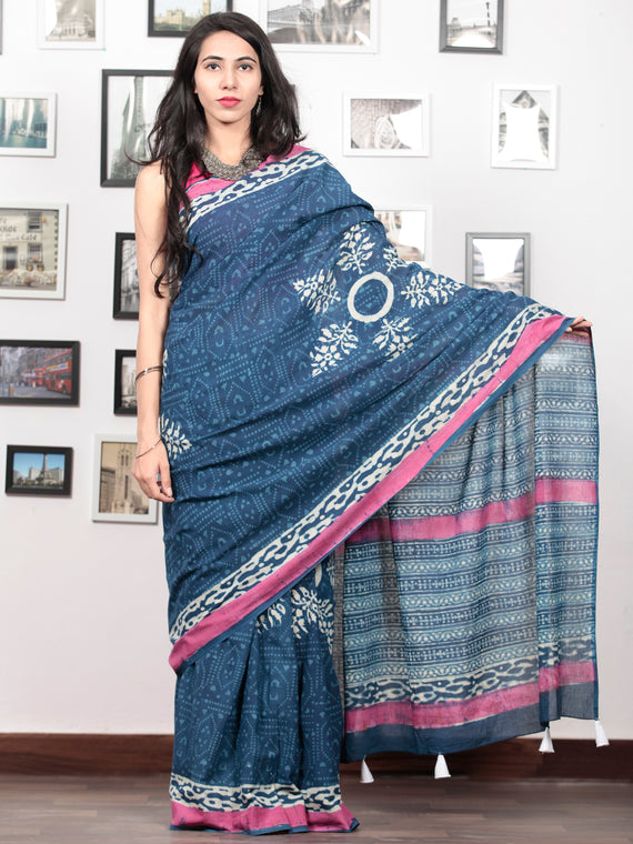 Indigo Pink White Hand Block Printed Cotton Mul Saree With Tassels  - S031703014