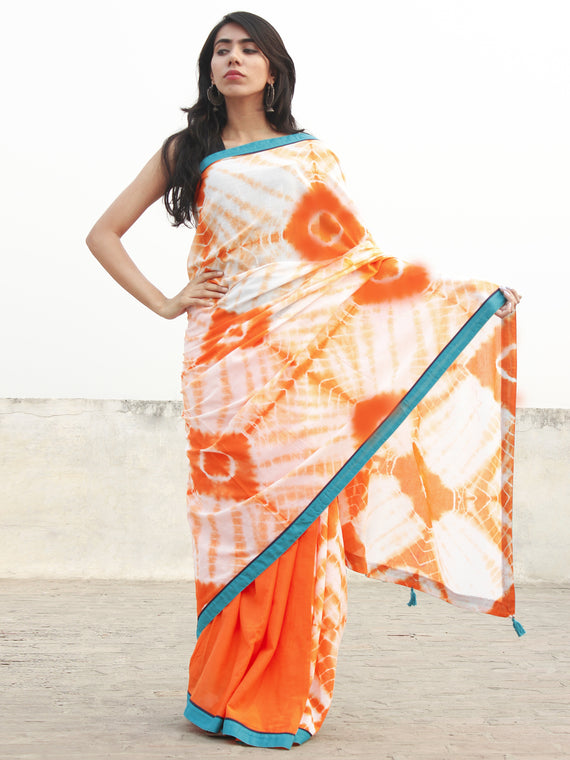 Orange Ivory Hand Shibori Dyed Saree With Teal Blue Border & Tassels - S031702555
