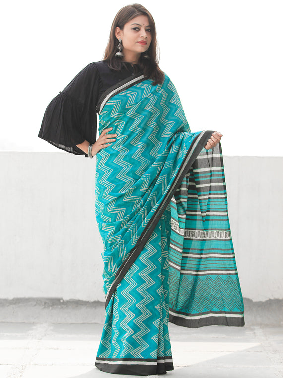 Sea Green Ivory Hand Block Printed  Cotton Mul Saree - S031704097