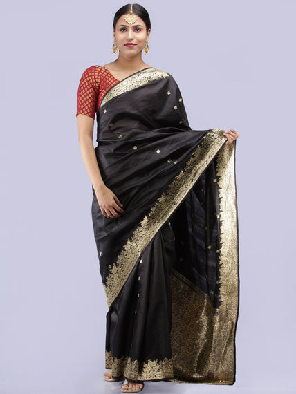 Banarasee Pure Katan Silk Handloom Saree With Zari Work - Black & Gold - S031704287