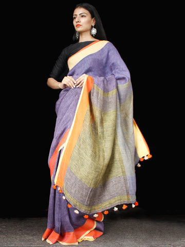 Purple Orange Green Linen Handloom Saree With Ganga Jamuna Border & Tassels - S031703440