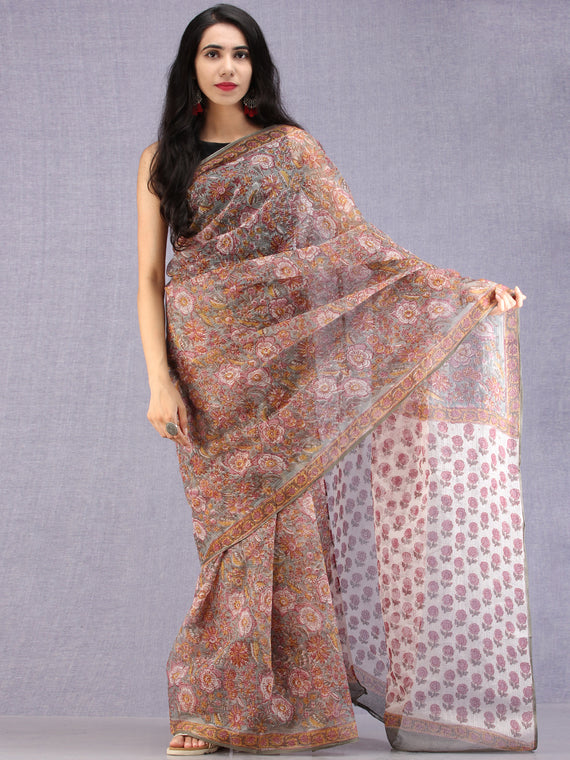 Grey Maroon Off white Mustard Hand Block Printed Kota Doria Saree - S031704582