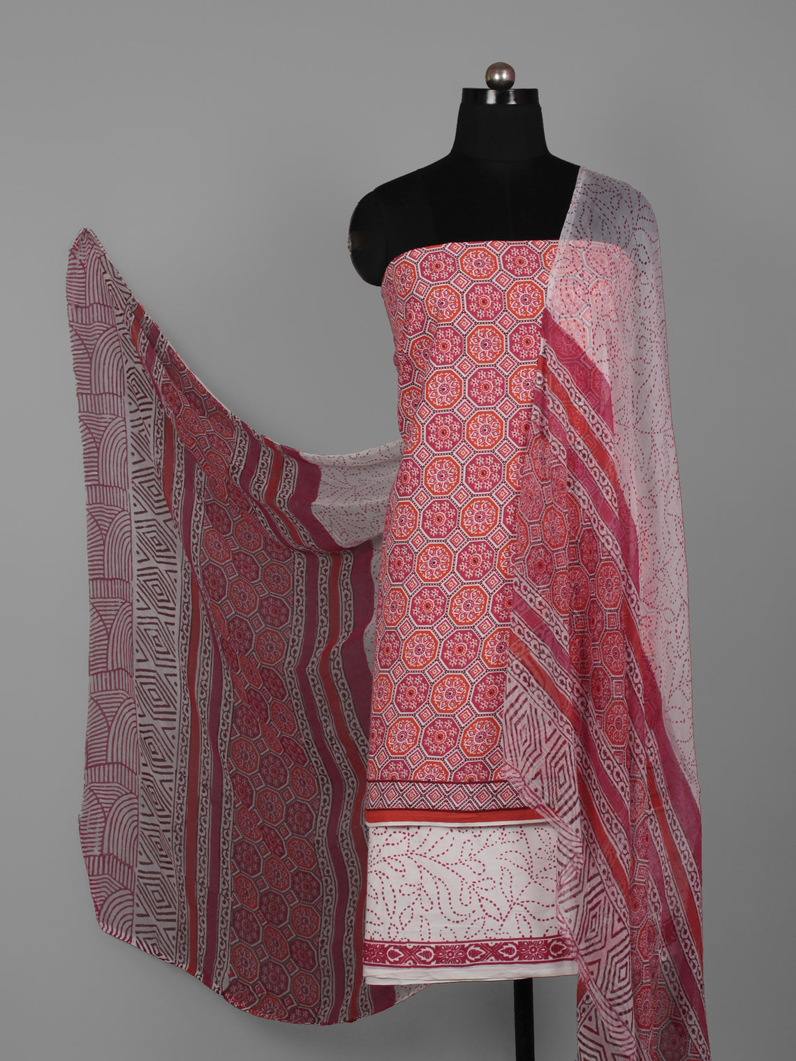 Red Pink Ivory Hand Block Printed Cotton Suit-Salwar Fabric With Chiffon Dupatta (Set of 3) - S16281276