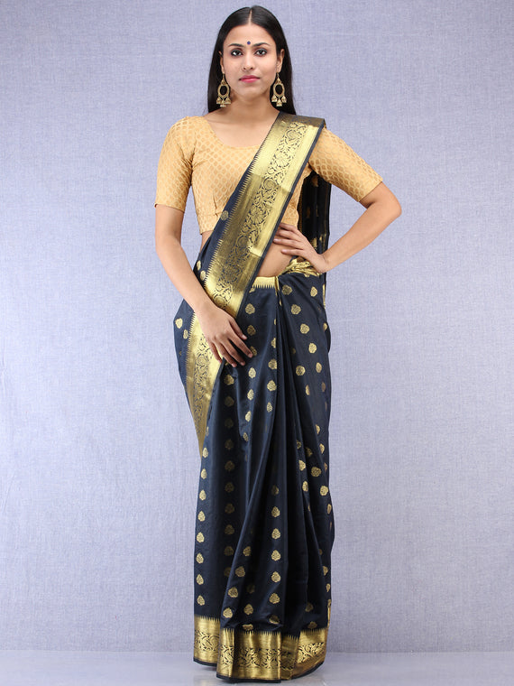 Banarasee Semi Silk Saree With Zari Work - NavyBlue & Gold - S031704399