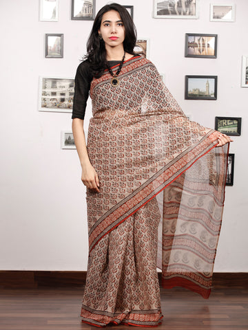 Beige Maroon Grey Hand Block Printed Kota Doria Saree In Natural Colors - S031703475