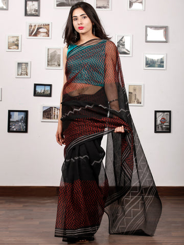 Black Red Beige Hand Block Printed Kota Doria Saree In Natural Colors - S031703190