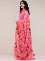 Pink Aari Embroidered Georgette Saree From Kashmir  - S031704622