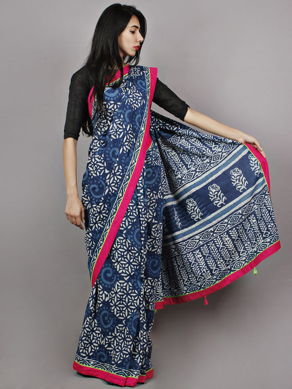 Indigo White Pink Hand Block Printed & Thread Embroidered Cotton Saree With Tassels - S031701361