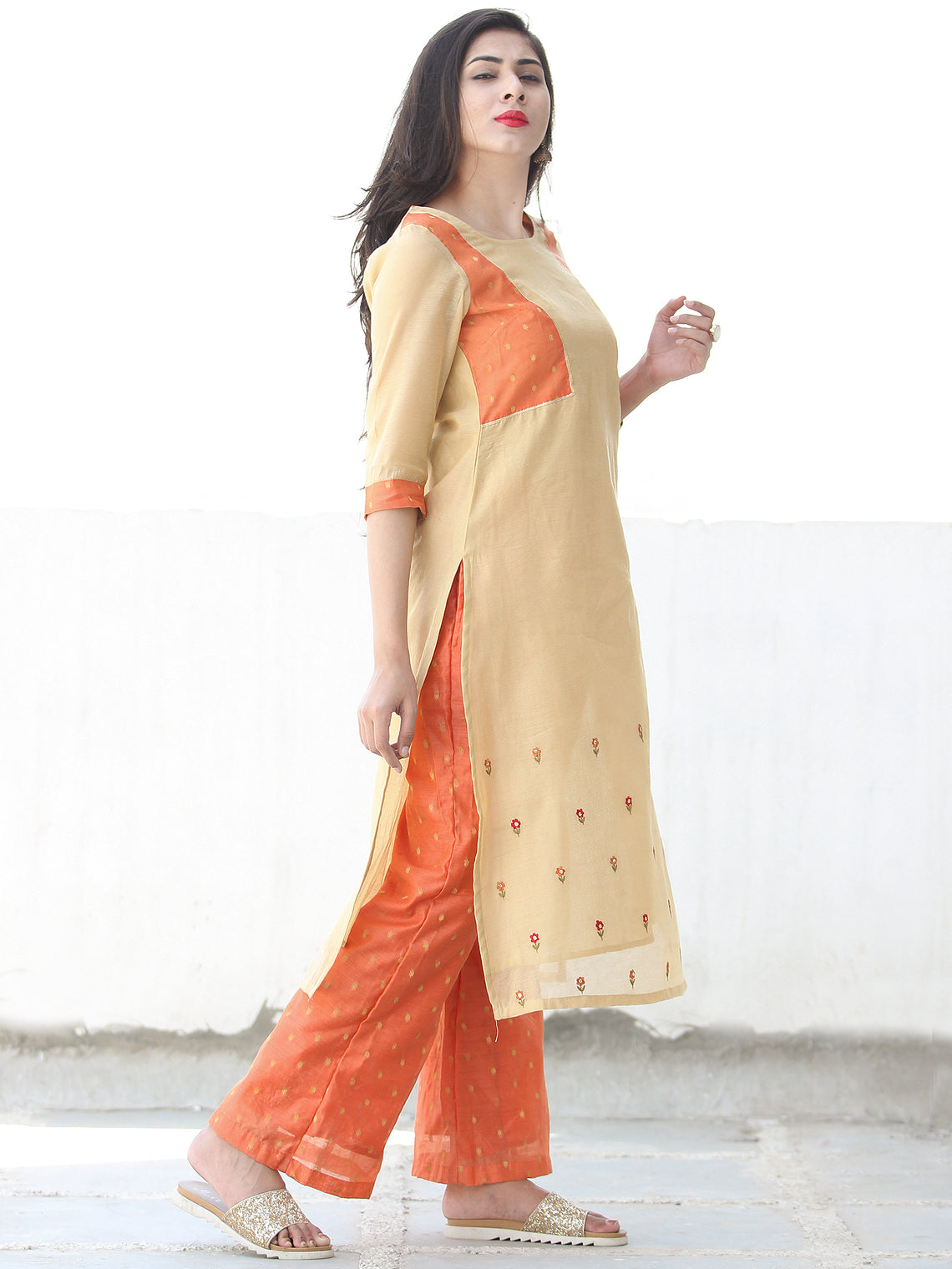 Sequence Embroidery - Beige Orange Golden Chanderi  Kurta & Pants Sets  - Set of 2  - SS01F060