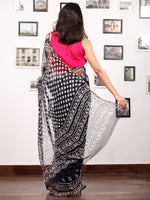 Deep Indigo White Hand Block Printed Chiffon Saree with Zari Border - S031703152