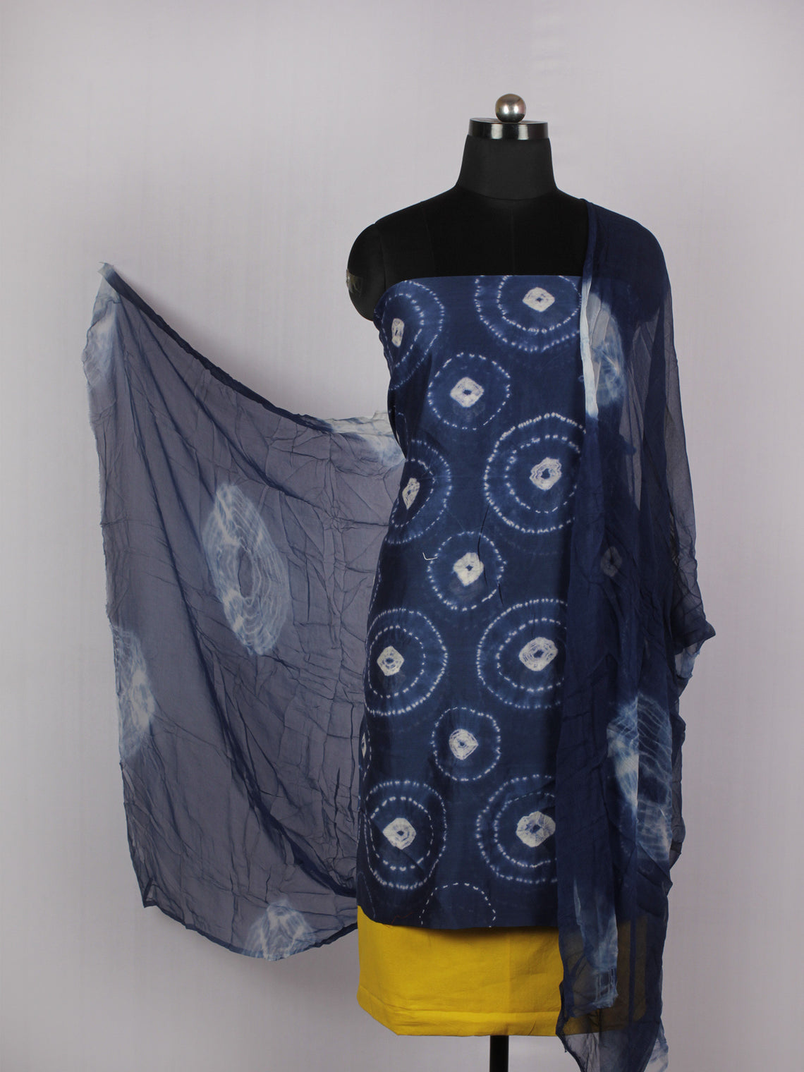 Indigo Ivory Yellow Hand Shibori Dyed Chanderi Kurta & Chiffon Dupatta With Cotton Salwar Fabric Set of 3- S1628221
