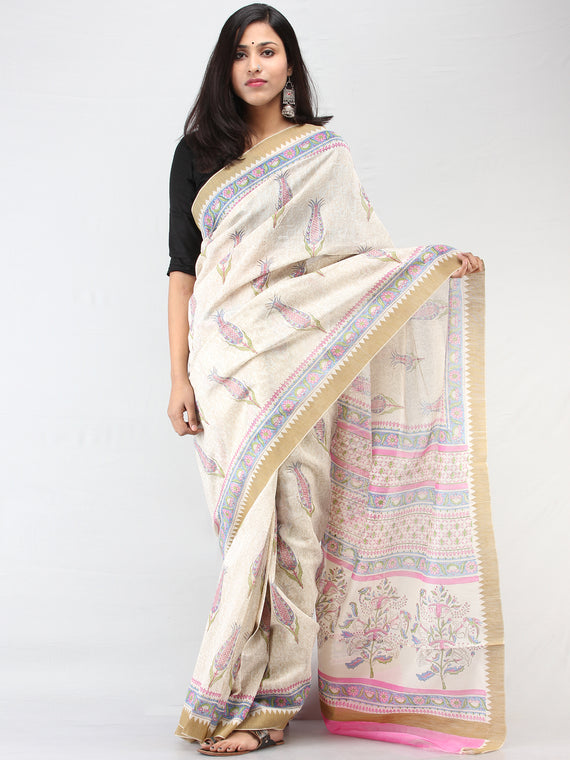 White Pink Blue Chanderi Hand Block Printed Saree With Geecha Border - S031704462