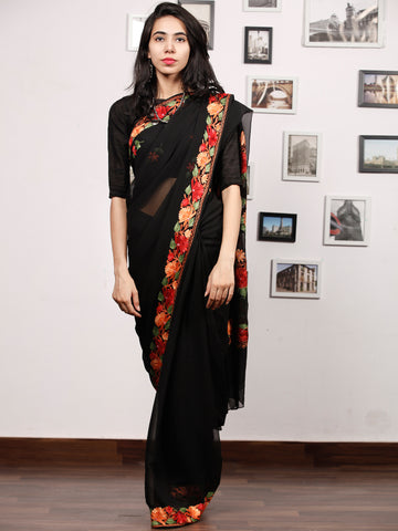 Black Red Peach Green Aari Embroidered Georgette Saree From Kashmir  - S031704065