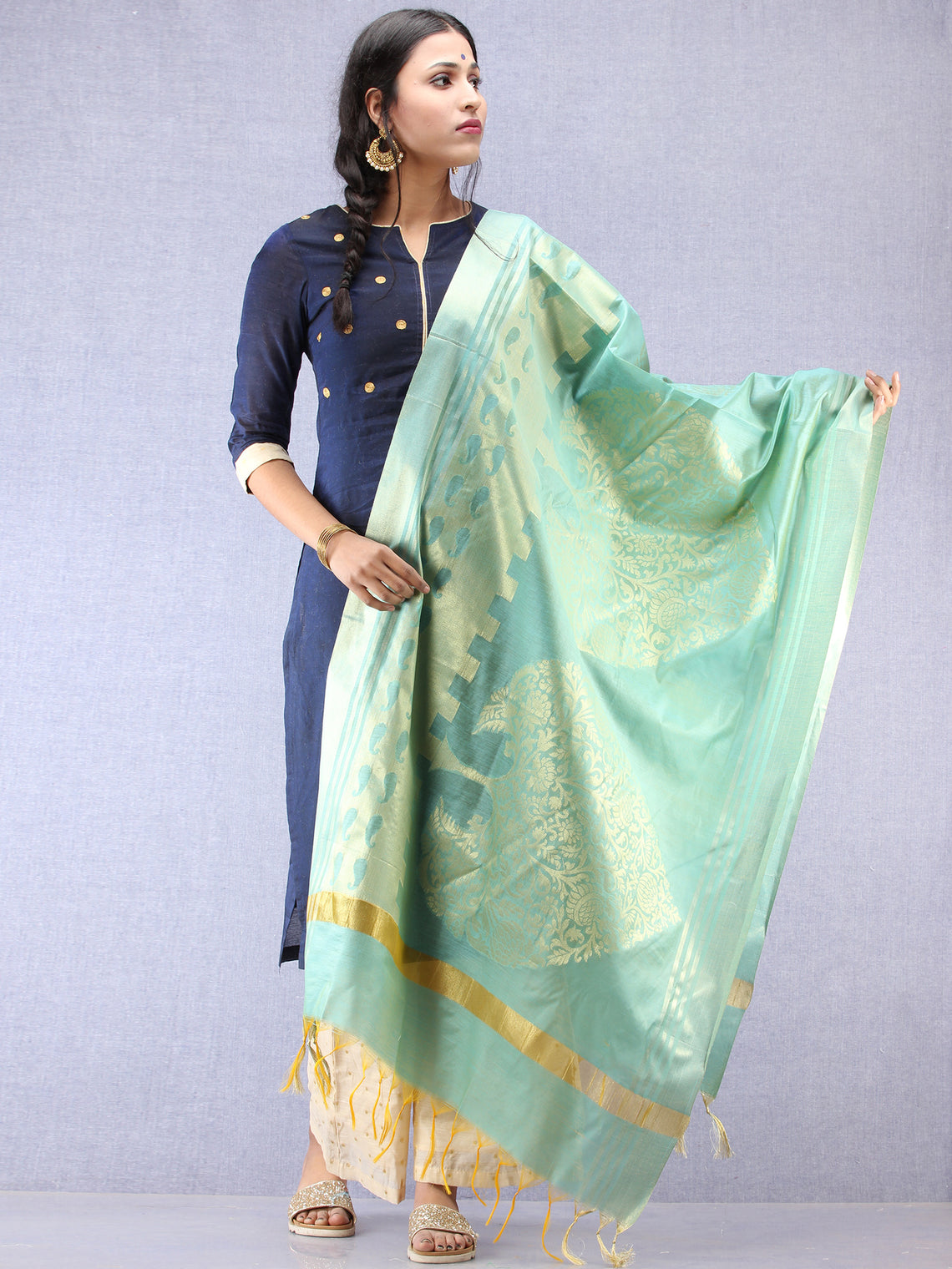 Banarasi Chanderi Dupatta With Zari Work - Sea Green & Gold - D04170798