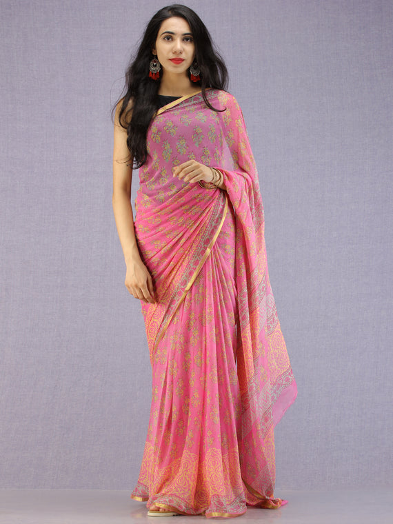 Pink Green Yellow Hand Block Printed Chiffon Saree with Zari Border - S031704591