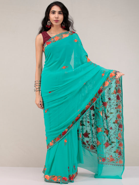 Green Aari Embroidered Georgette Saree From Kashmir - S031704631