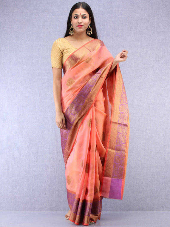 Banarasee Cotton Silk Saree With Zari Work - Peach Gold & Purple - S031704408