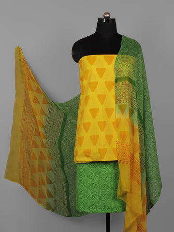 Yellow Orange Green Hand Block Printed Cotton Suit-Salwar Fabric With Chiffon Dupatta (Set of 3) - S16281285