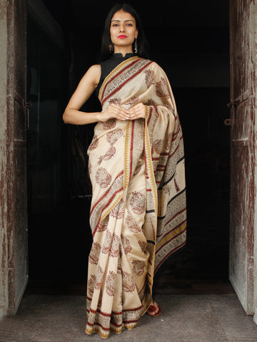 Beige Maroon Chanderi Silk Hand Block Printed Saree With Geecha Border - S031703988