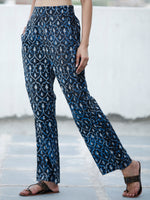 Indigo Black Hand Block Printed Semi Elasticated Waist Pleated Cotton Pant - P11F1899