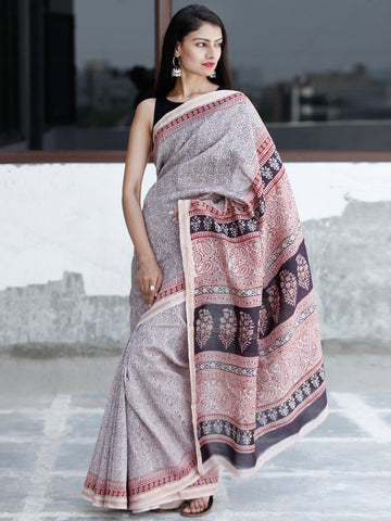 Off-White Maroon Black Bagh Hand Block Printed Maheswari Silk Saree With Resham Border - S031703834