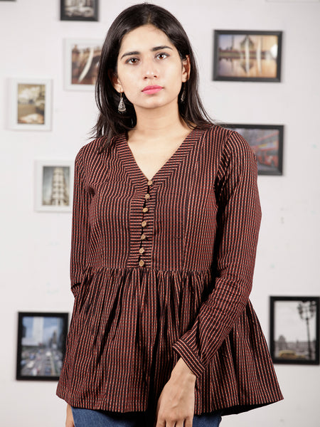 Black Beige Maroon Ajrakh Hand Block Printed Cotton Top - T14F1543