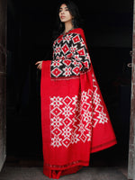 Black Red White Telia Rumal Double Ikat Handwoven Pochampally Mercerized Cotton Saree - S031703518