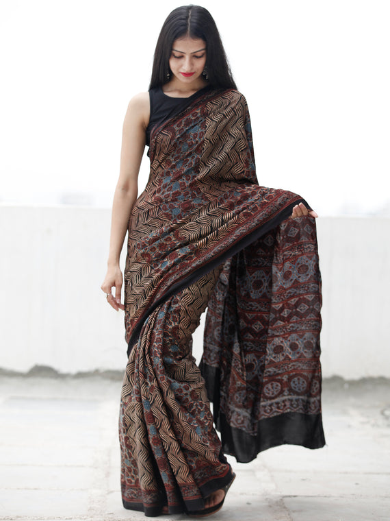 Black Beige Rust Blue Ajrakh Hand Block Printed Modal Silk Saree in Natural Colors - S031703702