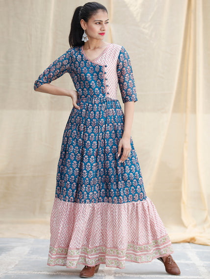 Blocks Ballad  -  Hand Block Printed Long Angrakha Chanderi Dress  - D355F1920