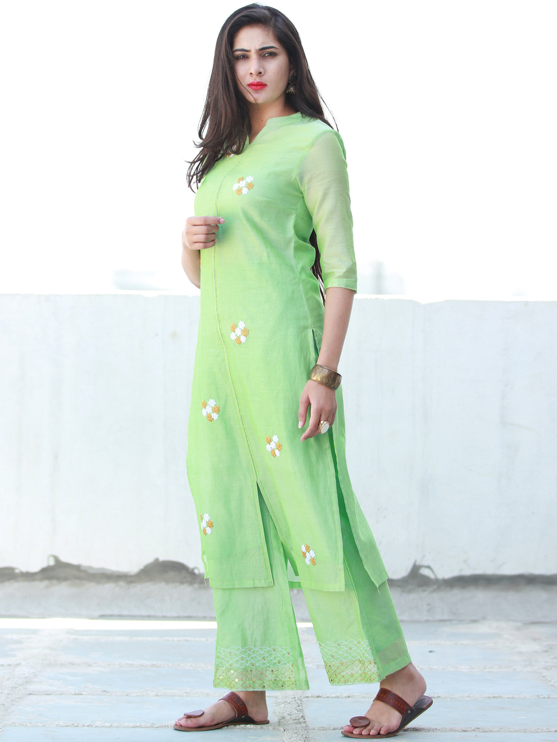 Pastel Play - Pastel Green Embroidered Chanderi Kurta & Pants Sets - Set of 2  - SS01F058