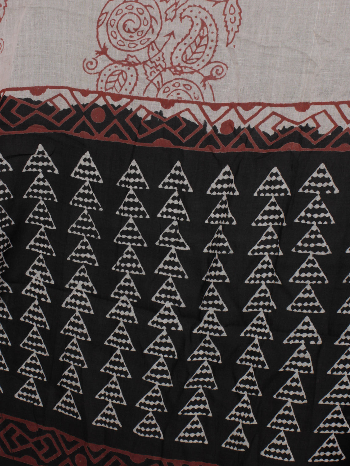 Black White Maroon Ivory Hand Block Printed Cotton Suit-Salwar Fabric With Dupatta - S1628196