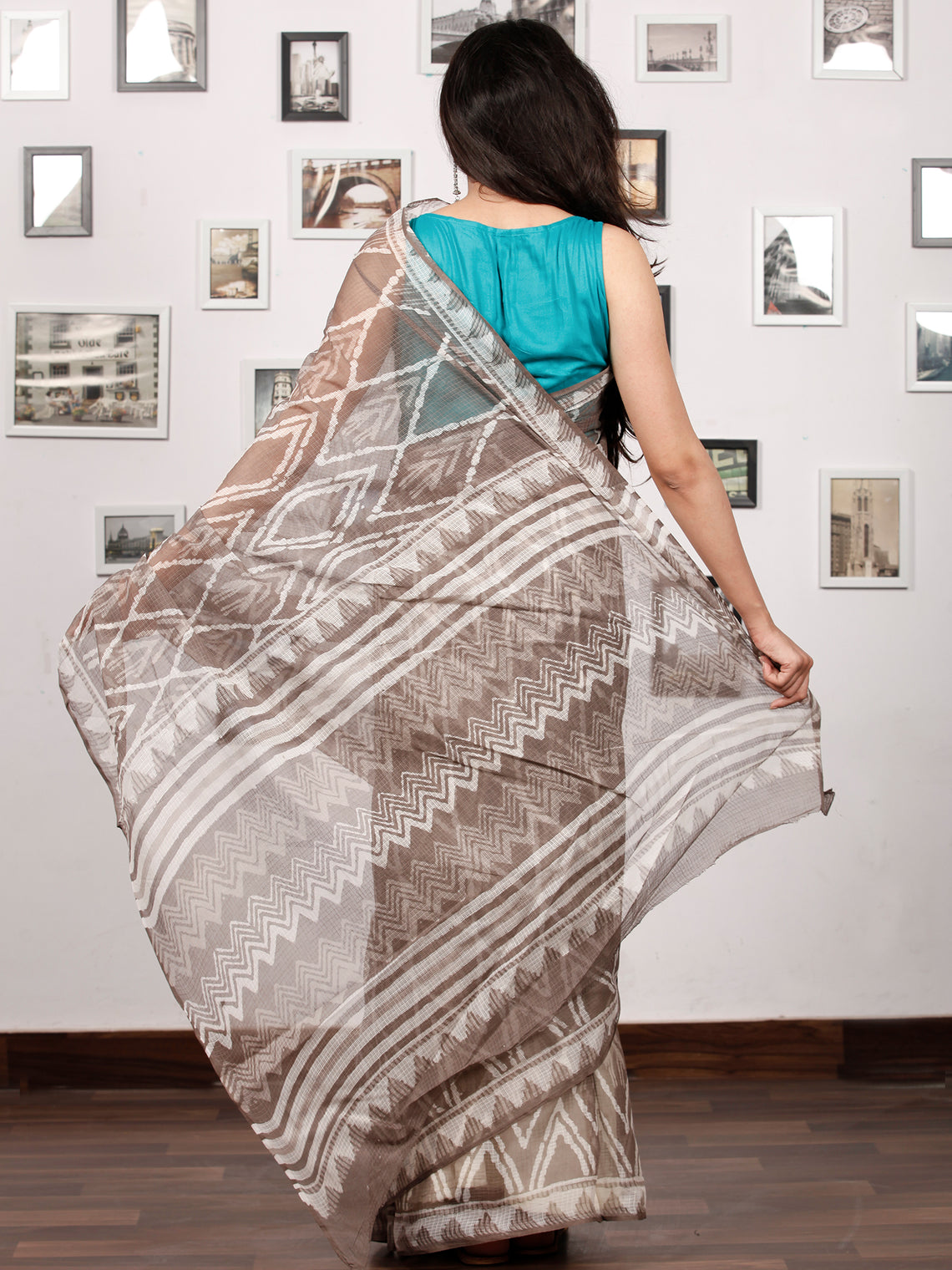 Beige White Hand Block Printed Kota Doria Saree In Natural Colors - S031703199