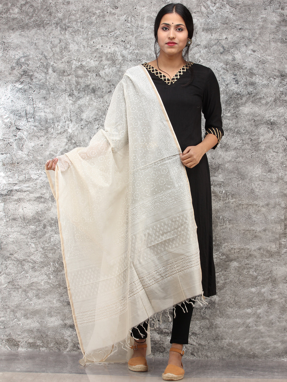 White Gold Chanderi Hand Block Printed Dupatta - D04170785