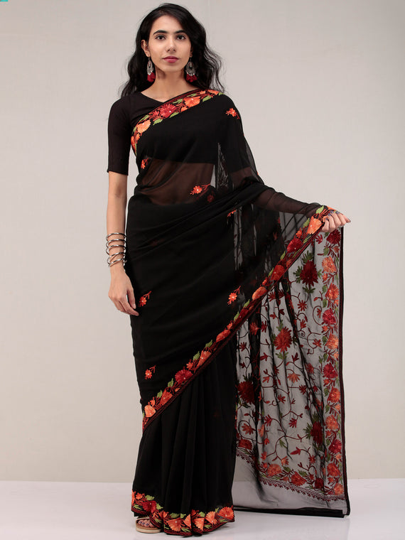 Black Aari Embroidered Georgette Saree From Kashmir - S031704632