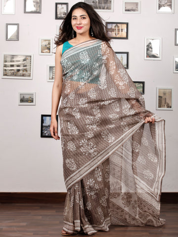 Beige White Hand Block Printed Kota Doria Saree In Natural Colors - S031703200