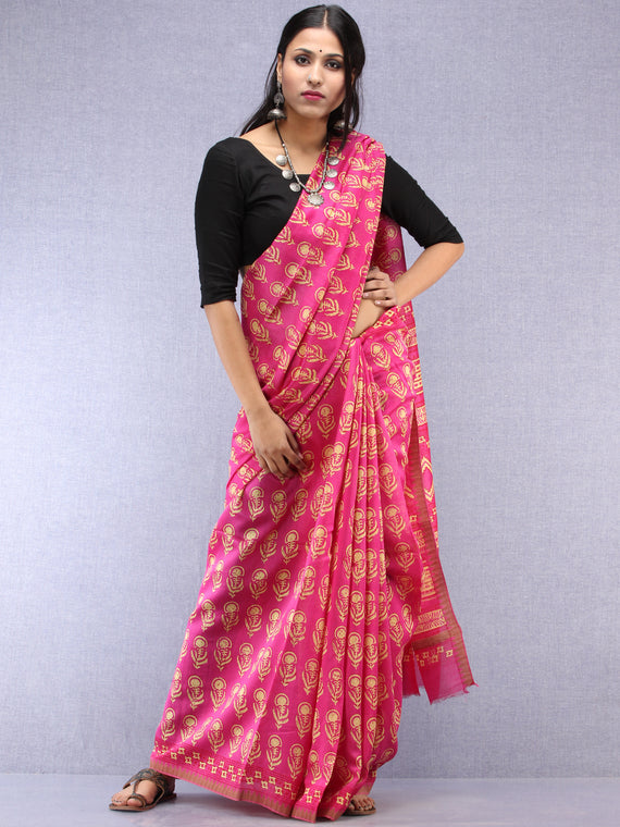 Pink Yellow Hand Block Printed Chanderi Saree With Geecha Border - S031704516