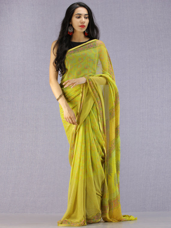Lime Green Pink Blue Hand Block Printed Chiffon Saree with Zari Border - S031704592