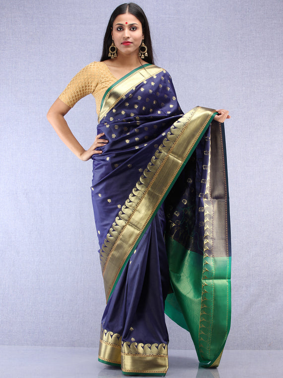 Banarasee Art Silk Saree With Zari Work - Navy Blue Green & Gold - S031704409