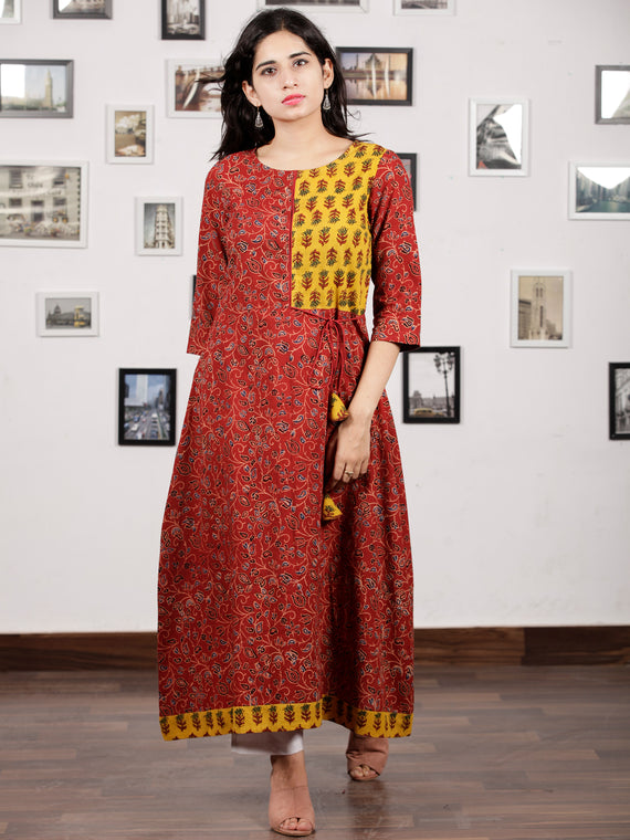 Red Yellow Black Indigo Ajrakh Hand Block Printed Kurta in Natural Colors - K120F1658
