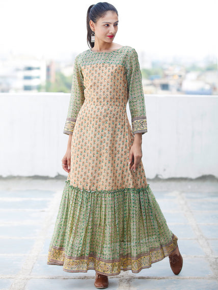 Pastel Complements - Hand Block Printed Long Chanderi Silk Dress - D354F1924