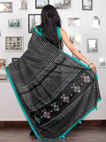 Black White Sea Green Hand Block Printed Cotton Mul Saree With Kantha Embroidered Pallu  - S031703024