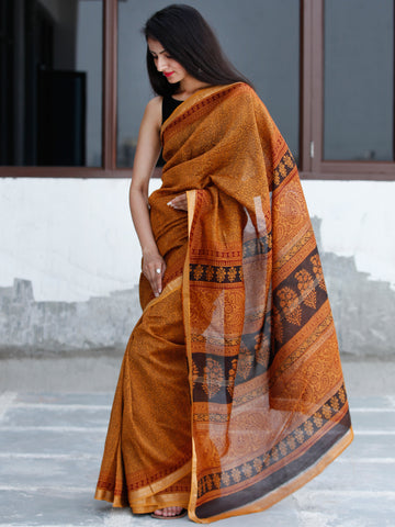 Golden-Yellow-Maroon Black Bagh Hand Block Printed Maheswari Silk Saree With Resham Border - S031703835