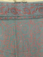 Sage Green Coral Hand Block Printed Chiffon Saree with Zari Border - S031703241